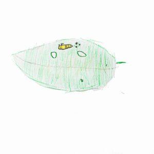 まほうの ざいりょう:ママっ葉(家のちかくの 川ぞいで みつけた、虫くいのある さくらの葉っぱ。)