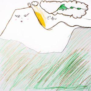 まほうで たすけたい、こまっているもの:家の ベランダから みえる、あさま山。「雪の子が きて、 白い おようふくを つくってくれるのに、すぐに とけてしまう。」