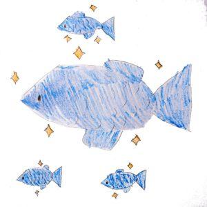 まほうの ざいりょう:きらきら魚(川の中で みつけた、きらきら かがやいた 魚。)