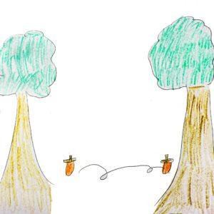 まほうの やりかた:ころころどんぐりを むこうの 木のほうに むかって なげる。